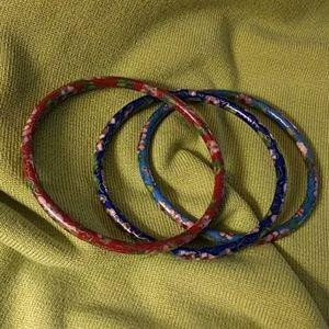 Jewelry - AUTH VINTAGE 3 CLOISONNE BANGLE BRACELETS